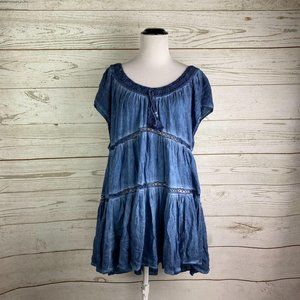 Free People Tiered Babydoll Boho Dress Sz M